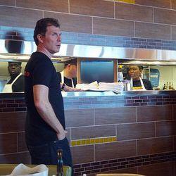 Bobby Flay supervises opening day at Bobby's Burger Palace at Potomac Mills.