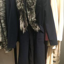 Navy coat with gray fur, $450 (from $1,650)