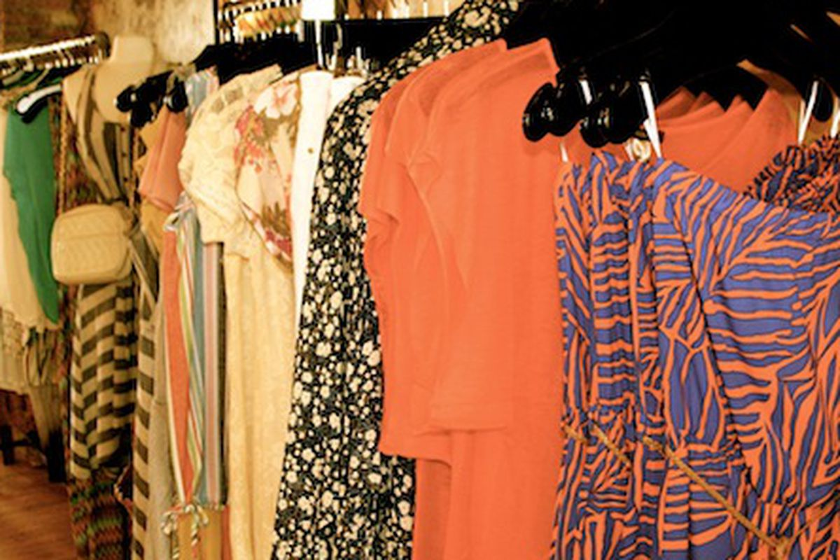 """The racks at <a href=""""https://www.facebook.com/ShoppePioneer253"""">Shoppe Pioneer</a> in Providence."""
