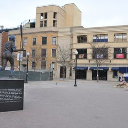 The Ron Santo statue has been removed for restoration -