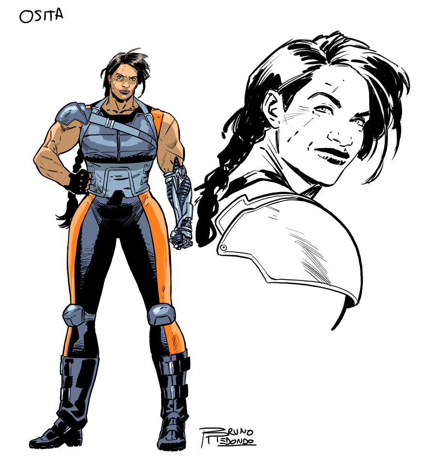 Osita is a giant woman in armor, with one metal hand, from DC Comics' 2019 Suicide Squad series.