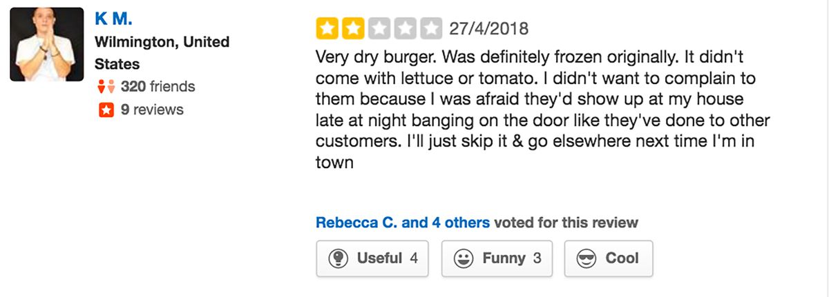 Restaurant Manager's Extreme Reaction to 3-Star Yelp Review