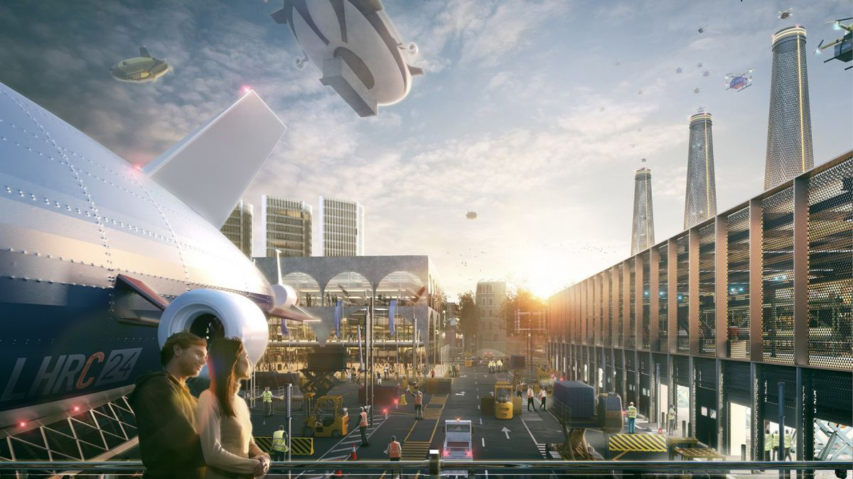 Concept art of a future Heathrow City and airship port