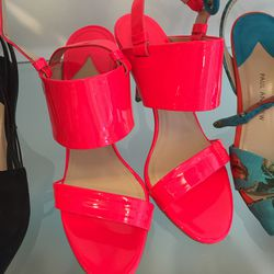 Patent neon flame sandals, $80