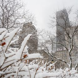 The Drake Hotel and the John Hancock Tower in the Loop is seen in this photo, Tuesday morning, Jan. 26, 2021. Three inches of snow enveloped Chicago as the winter storm passed through northern Illinois.