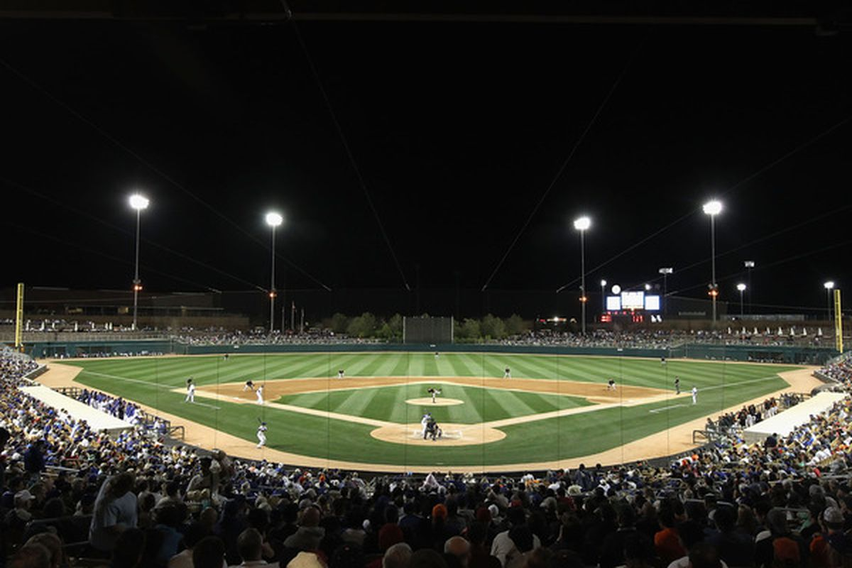 The Arizona Dodgers play their home games at Camelback Ranch, shown above, although unlike spring training games the stands are usually empty.