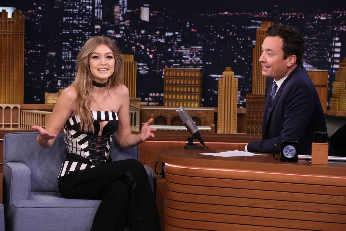 Gigi Hadid on the Tonight Show. Photo: NBC/Getty Images