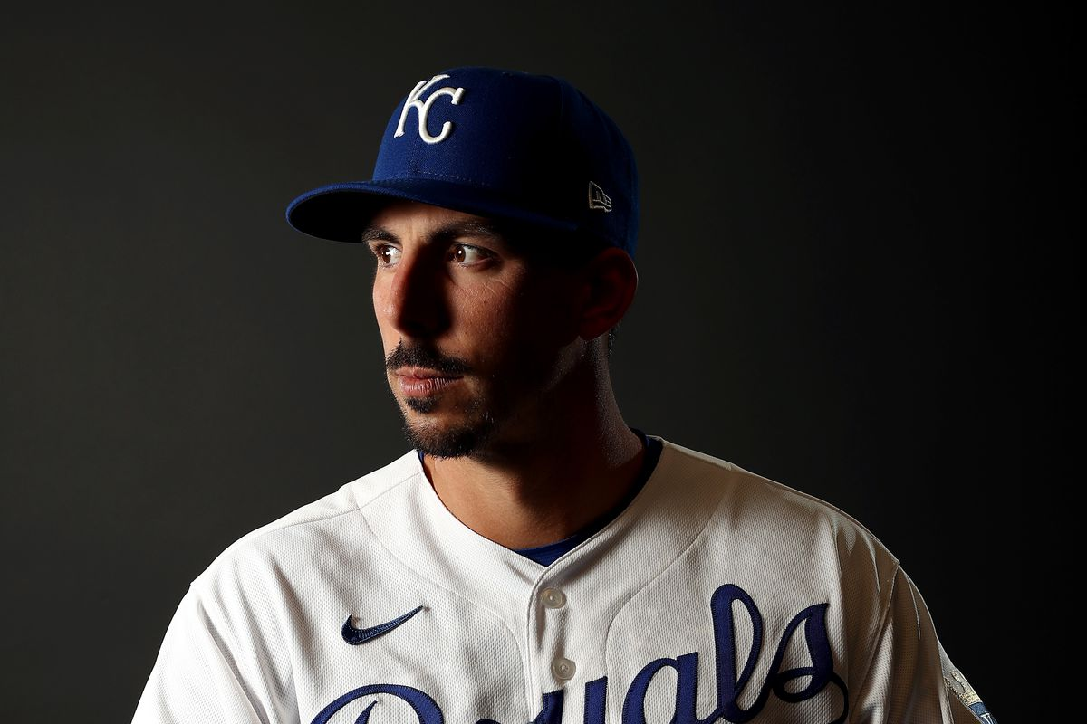 Kyle Zimmer #45 of the Kansas City Royals poses during Kansas City Royals Photo Day on February 20, 2020 in Surprise, Arizona.