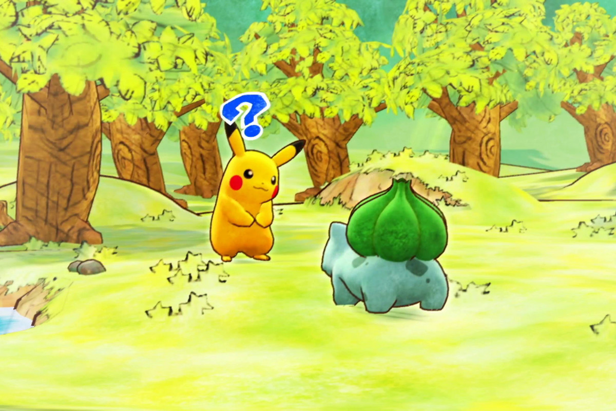 Pikachu and Bulbasaur by a forest in Pokemon Mystery Dungeon: Rescue Team DX