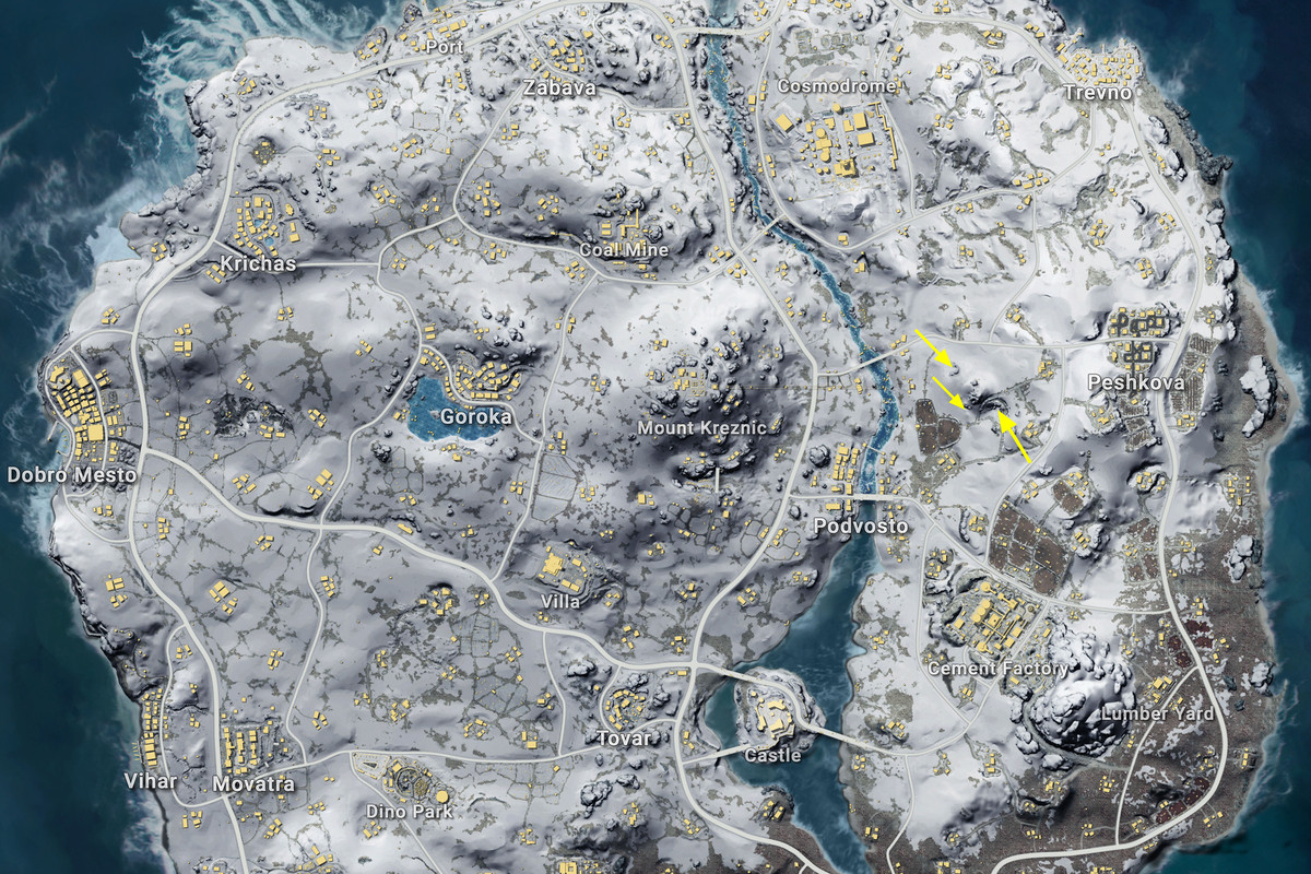 Vikendi PUBG map with cave markers