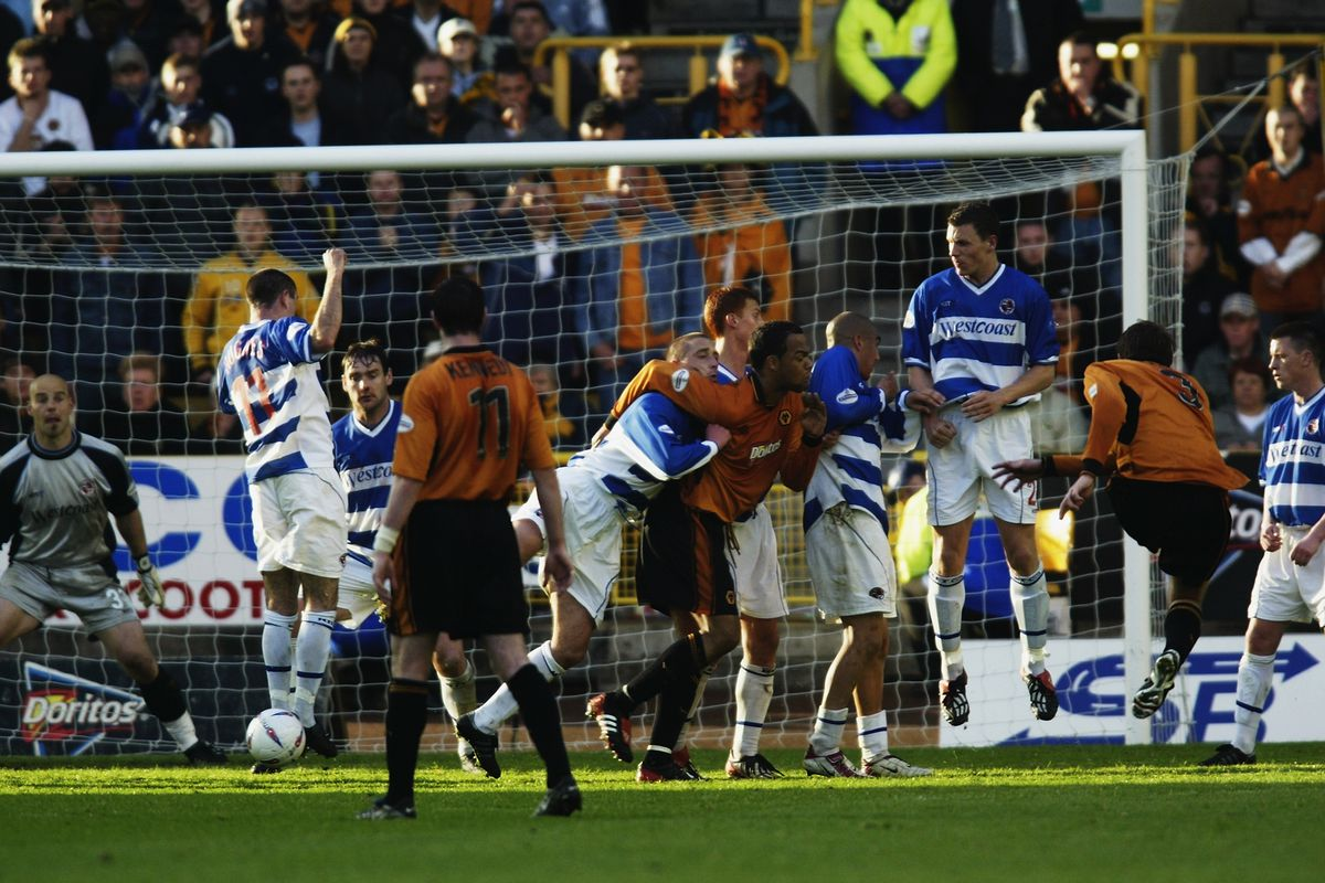 Lee Naylor of Wolverhampton Wanderers scores their second goal from a free kick