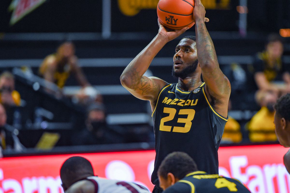Missouri Tigers forward Jeremiah Tilmon shoots a free throw during the basketball game between the Missouri Tigers and Texas A&M Aggies at Reed Arena on January 16, 2021 in College Station, Texas.