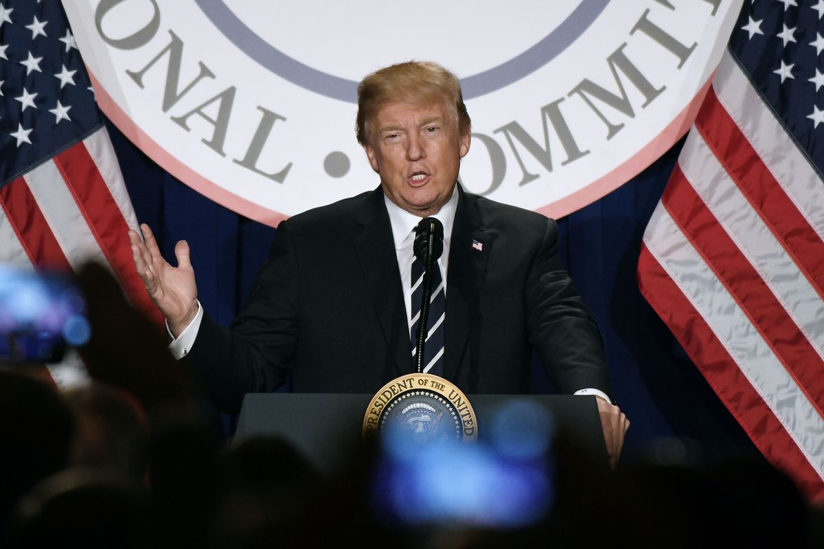 President Donald Trump speaks at the Republican National Committee winter meeting at the Trump International Hotel on February 1, 2018 in Washington, DC.