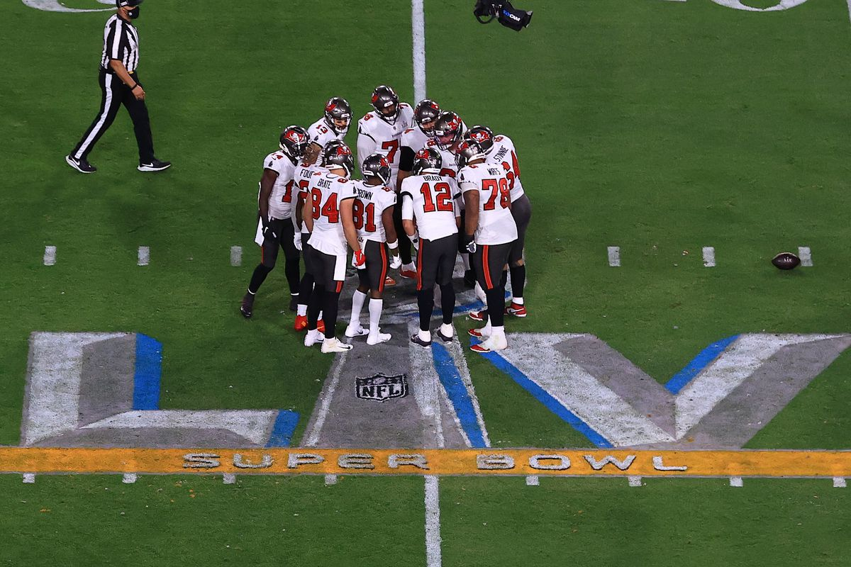 The Tampa Bay Buccaneers huddle during the second quarter against the Kansas City Chiefs in Super Bowl LV at Raymond James Stadium on February 07, 2021 in Tampa, Florida.