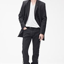 Coat ($199), T-Shirt ($29.95), Pants ($99), Belt ($49.95), Suede Boots ($199)