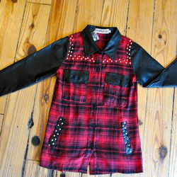 """Flannel shirt with gold studding and faux leather sleeves and collar by Reverse, $62 at <a href=""""http://aokiboutique.com/"""">Aoki</a>"""