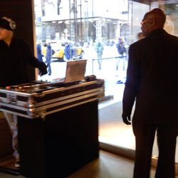 No early-morning shopping experience is complete without a DJ.