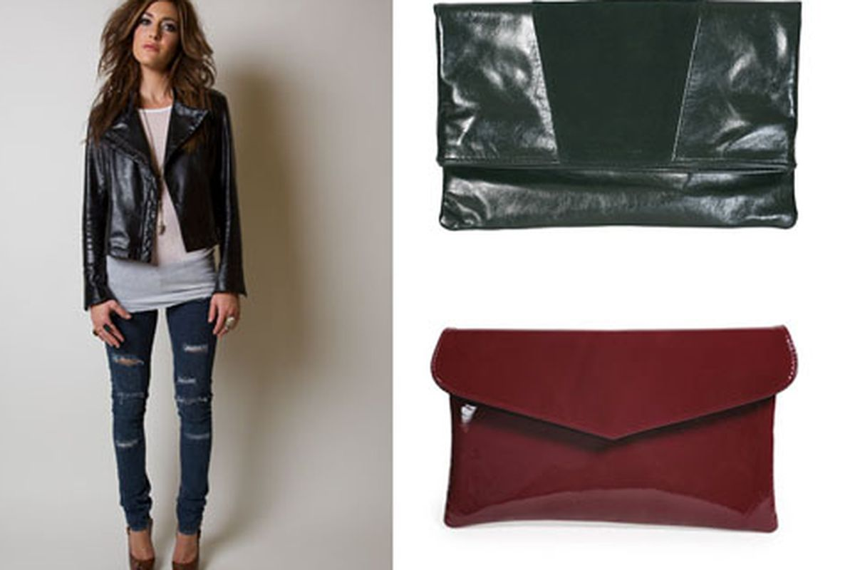 Ooh la la, lovely leather. Jacket from 1020 by Nicole, handbags from Tucker Paisley