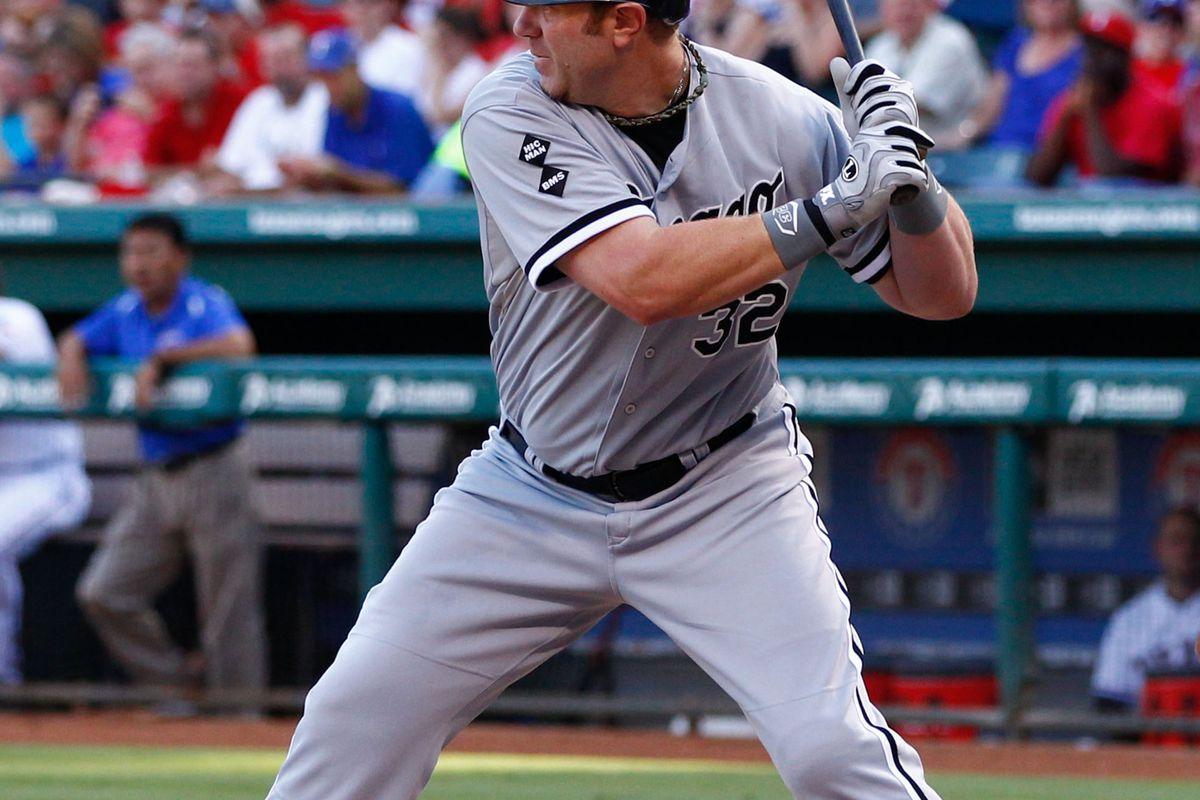 July 28, 2012; Arlington, TX, USA; Chicago White Sox designated hitter Adam Dunn (32) during the game against the Texas Rangers at Rangers Ballpark in Arlington. Mandatory Credit: Jim Cowsert-US PRESSWIRE