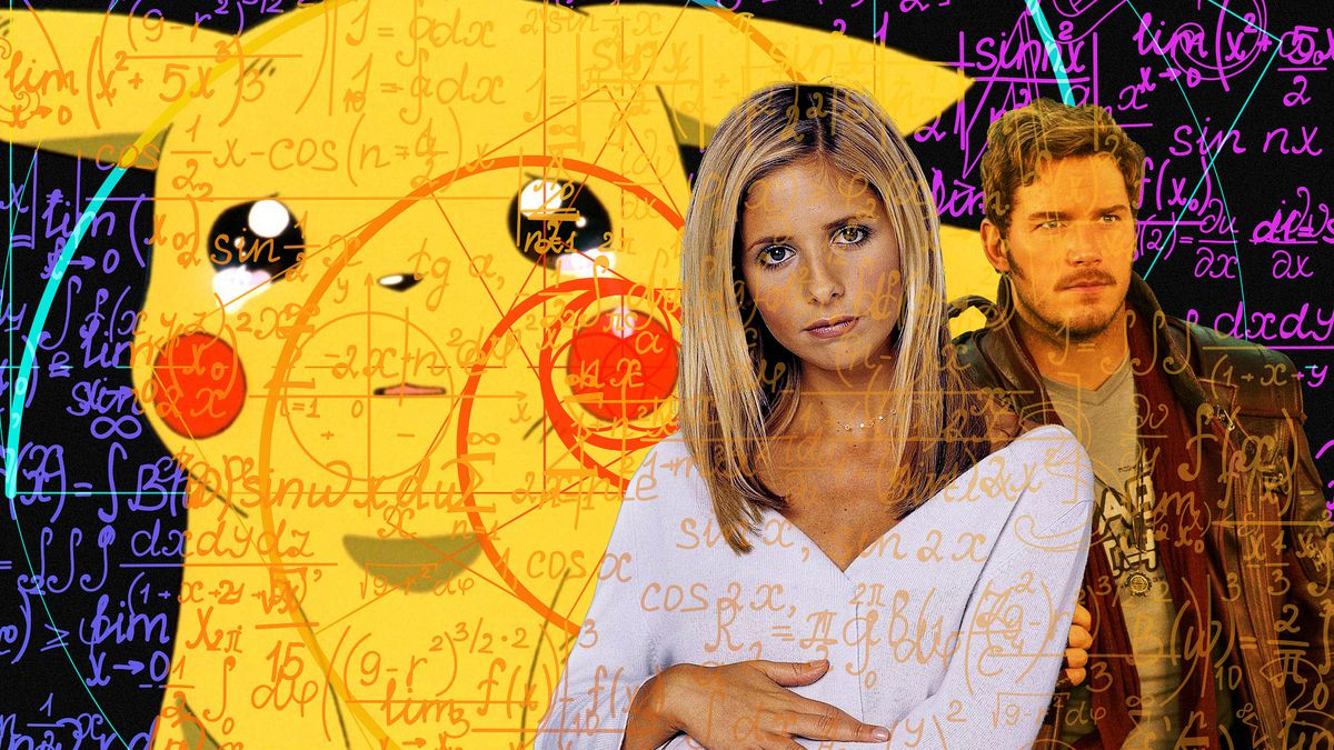 Collage featuring crying Pikachu, Sarah Michelle Gellar as Buffy and Chris Pratt as Star Lord with mathematical formulas