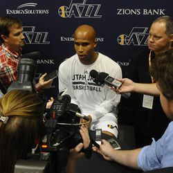 The Jazz's Richard Jefferson talks with the press during media day at the Zions Bank Basketball Center on Sept. 30.