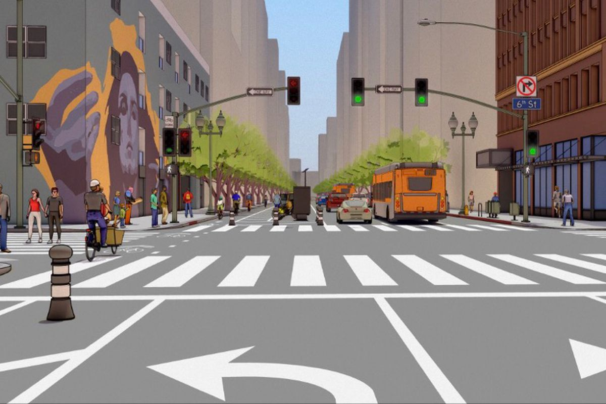 Rendering of street with bike-friendly improvements