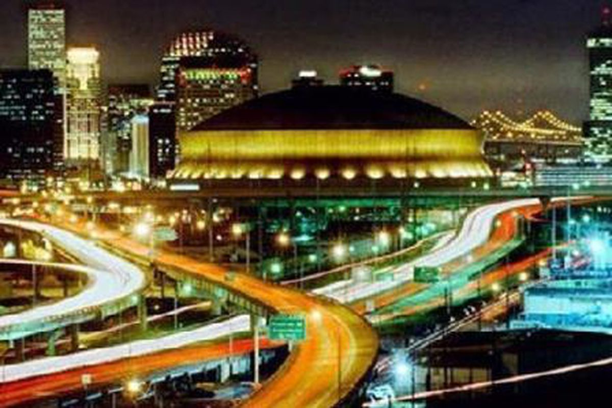 Site of tonight's epic matchup, the Louisiana Superdome.  Good times.