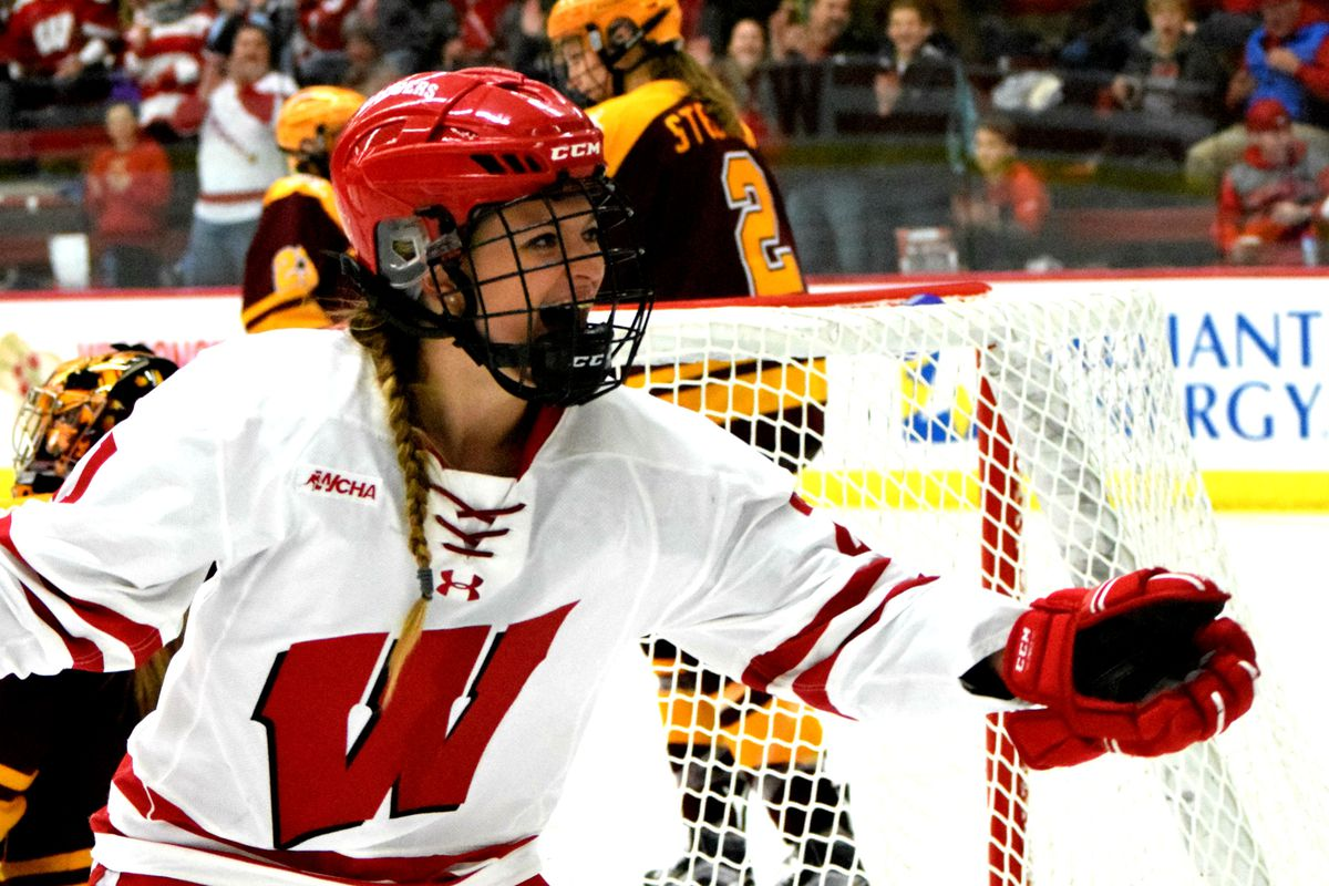 Baylee Wellhausen celebrates a Wisconsin goal during a win over Minnesota last December.