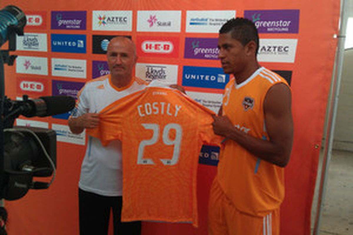 Honduran Carlos Costly is officially introduced as a Houston Dynamo player on Friday morning.