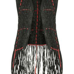 LEATHER WEAVE GILET, $500