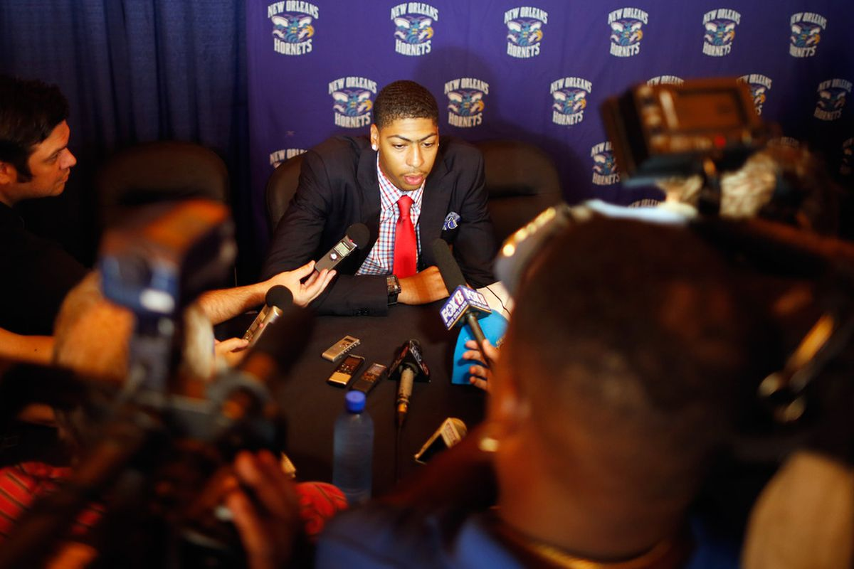 NEW ORLEANS, LA - JUNE 29:  First pick in the 2012 NBA draft Anthony Davis talks to the media after joining the New Orleans Hornets at the New Orleans Areana on June 29, 2012 in New Orleans, Louisiana.  (Photo by Chris Graythen/Getty Images)