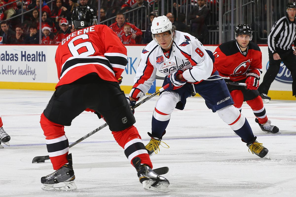 Captain Andy Greene leads the Devils into Washington for a game against the Capitals.