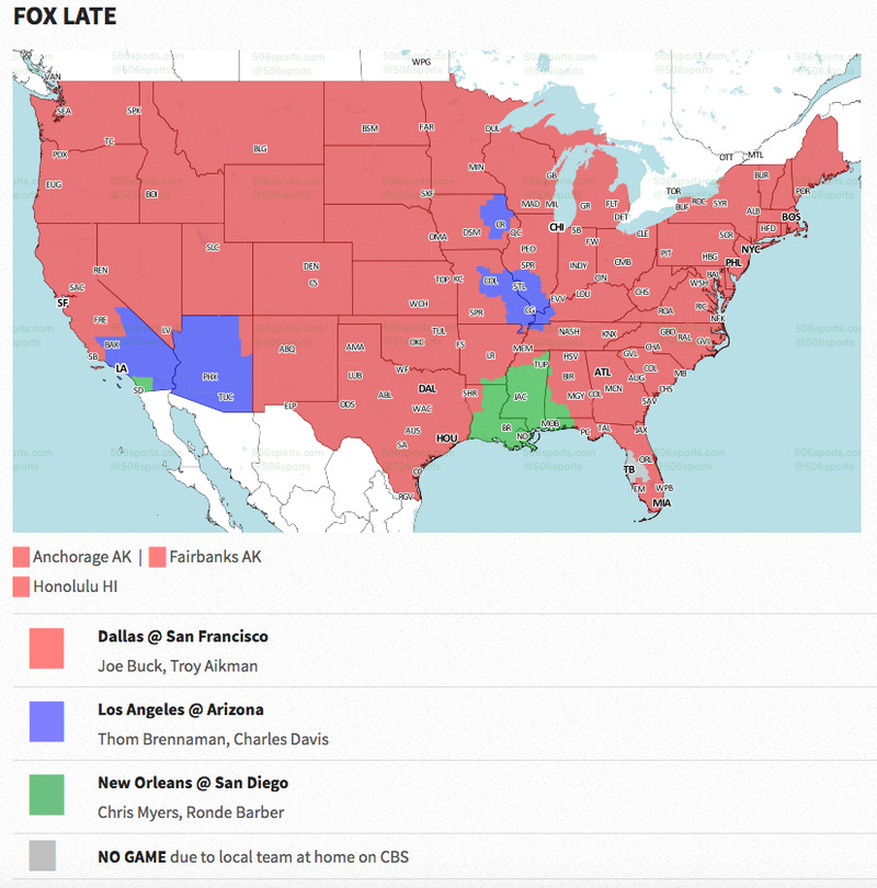 Week NFL TV Maps Revenge Of The Birds - Nfl team us map