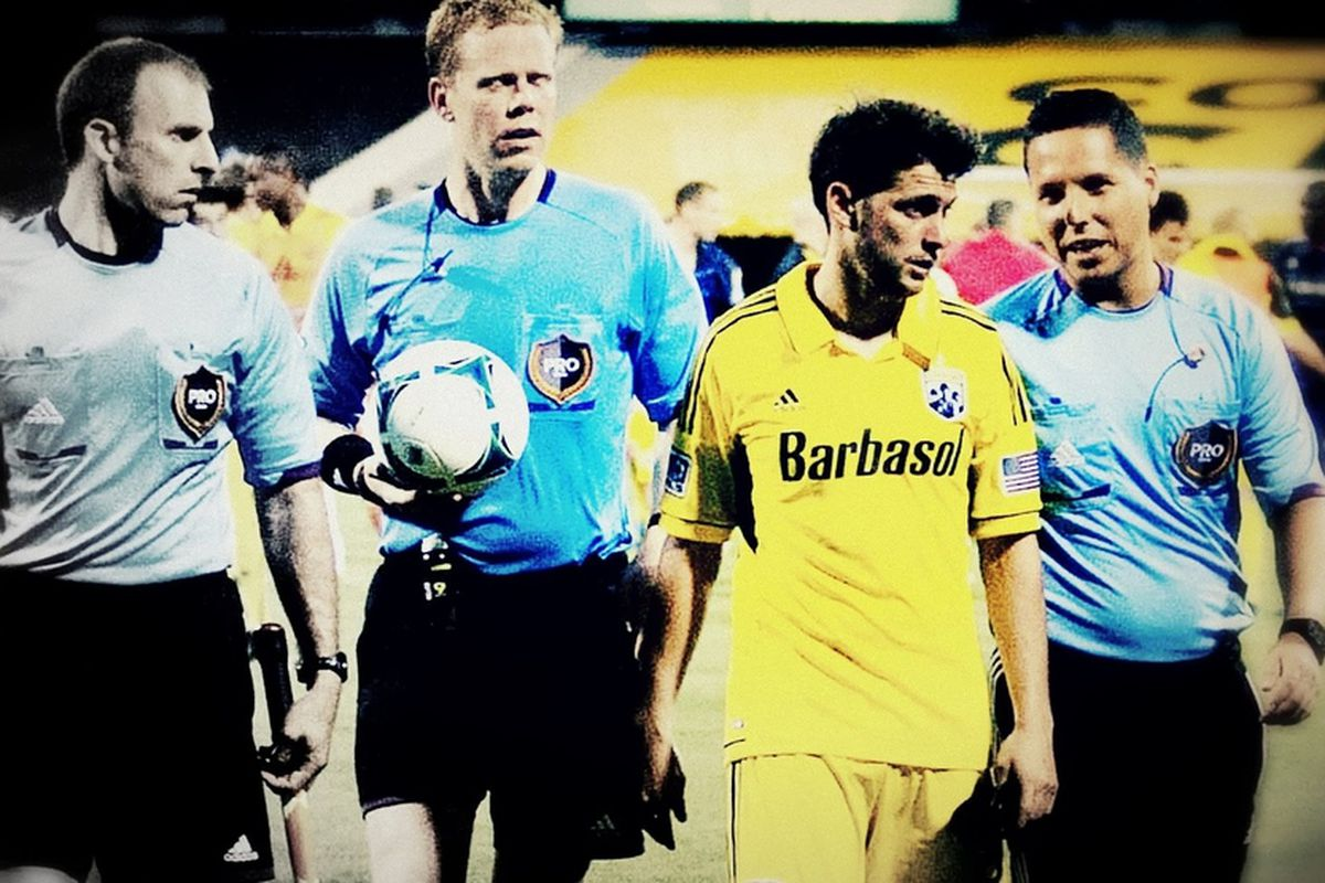 Matías Sánchez meets with refs after Crew fall to Chicago, 22 June 2013
