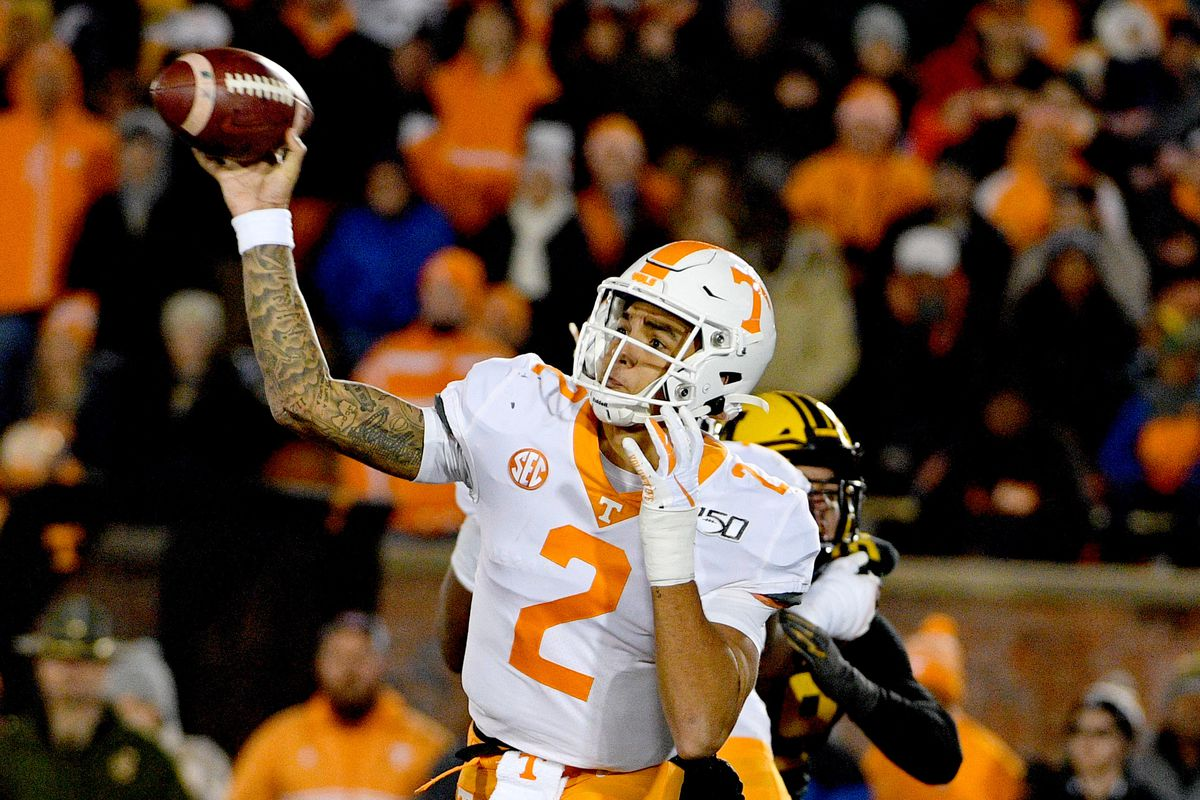 Tennessee Volunteers quarterback Jarrett Guarantano throws a pass during the game against the Missouri Tigers at Memorial Stadium/Faurot Field.