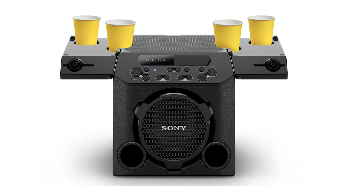 Sony announced a new party-speaker with a mind blowing feature - a cup holder