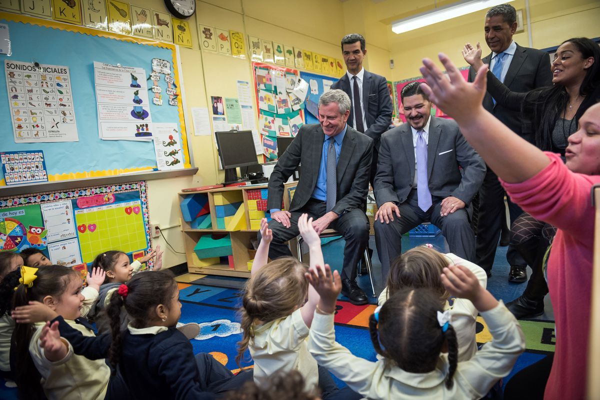 Mayor Bill de Blasio, left front, is widely expected to run for the White House and make pre-K a central selling point of his campaign.