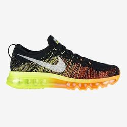 """Sport: Running. <strong>Nike</strong> Flyknit Airmax in Black/Sail Atomic/Orange Volt,  <a href=""""http://store.nike.com/us/en_us/pd/flyknit-air-max-running-shoe/pid-808857/pgid-808858"""">$225</a>"""