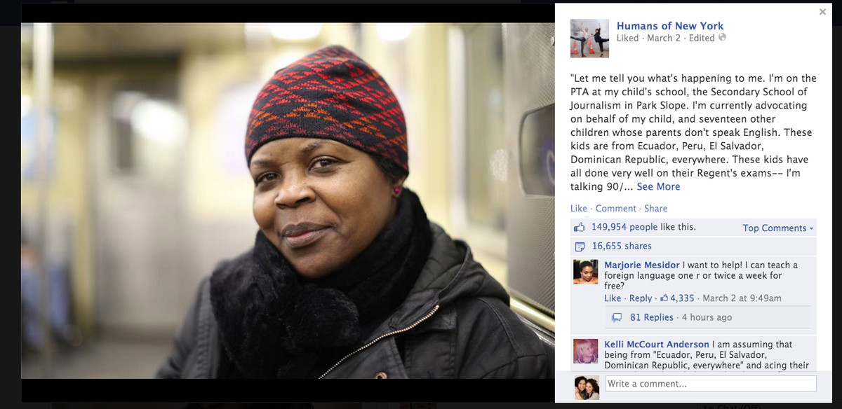 Renaud's story, posted on the Humans of New York Facebook page, drew thousands of comments.