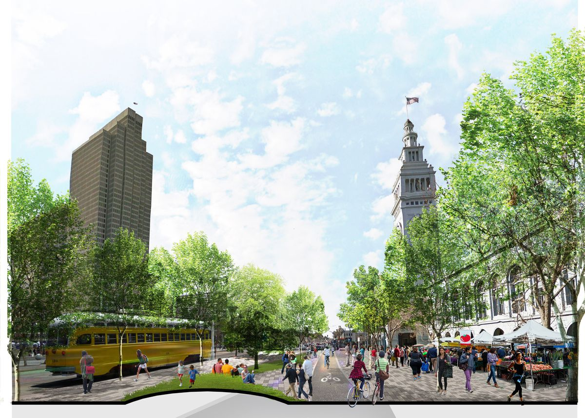 A rendering of the area around the Ferry Building in San Francisco, showing a plan to include more trees and walking space.
