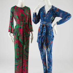 """""""These are both evening pajama pants, so you would wear them out on the town. We often don't think of Halston working with prints, but here we see Halton on the right and Yves Saint Laurent on the left."""""""