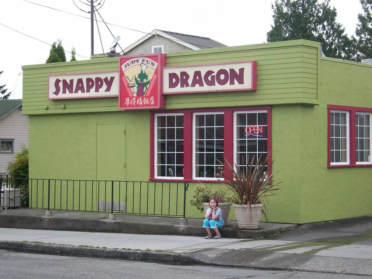 The green-painted exterior of Snappy Dragon in Maple Leaf