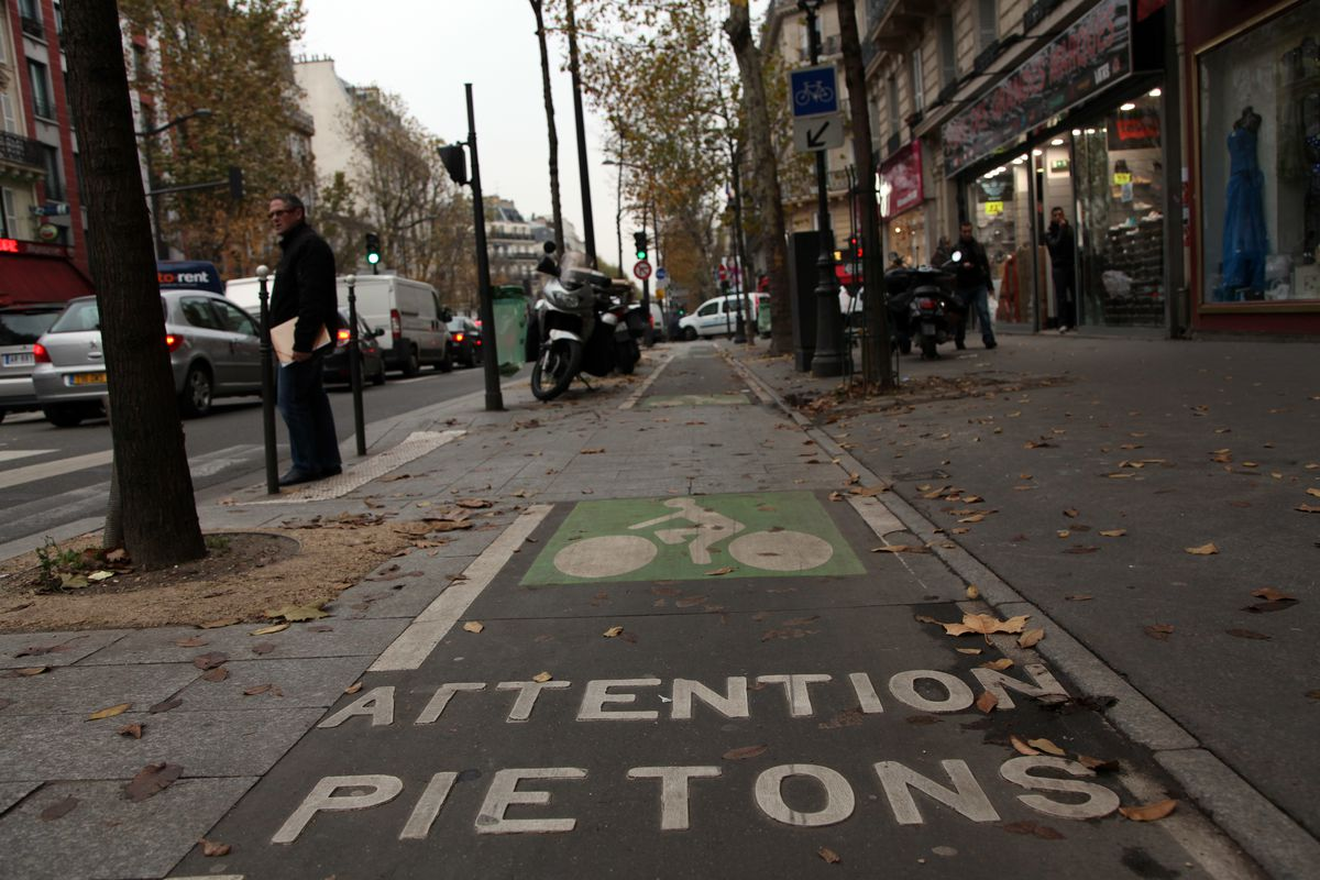 A protected bike lane in downtown Paris.