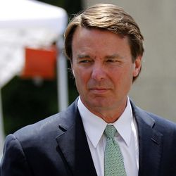 John Edwards returns to a federal courthouse during the ninth day of jury deliberations in his trial on charges of campaign corruption in Greensboro, N.C., Thursday, May 31, 2012. Edwards pleaded not guilty to six counts related to campaign finance violations over nearly $1 million from two wealthy donors, used to help hide the Democrat's pregnant mistress as he sought the White House in 2008.