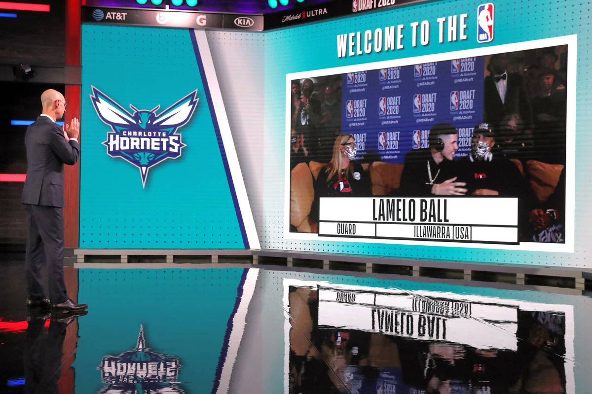 NBA Commissioner, Adam Silver reacts to the Charlotte Hornets number three overall pick of Lamelo Ball during the 2020 NBA Draft on November 18, 2020 in Bristol, Connecticut at ESPN Headquarters.