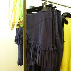 The ruffle skirt in person. It's nice. Check out the neoprene belts, too.