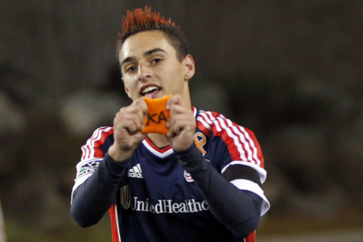 Teenage Diego Fagundez, goal-threat that he is, shows some love for a stricken teammate - Kevin Alston (Get Well Soon, KA!)