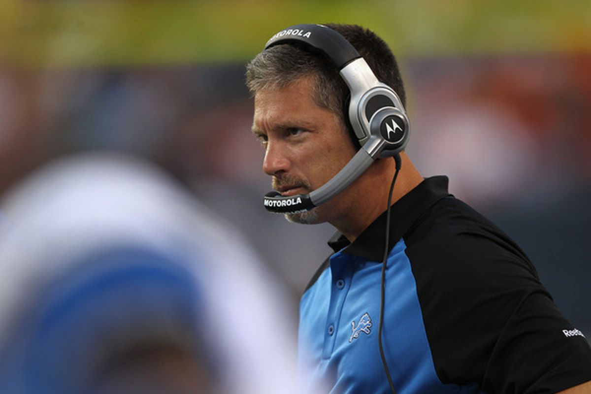 DENVER - AUGUST 21:  Head coach Jim Schwartz of the Detroit Lions leads his team against the Denver Broncos during preseason NFL action at INVESCO Field at Mile High on August 21 2010 in Denver Colorado.  (Photo by Doug Pensinger/Getty Images)