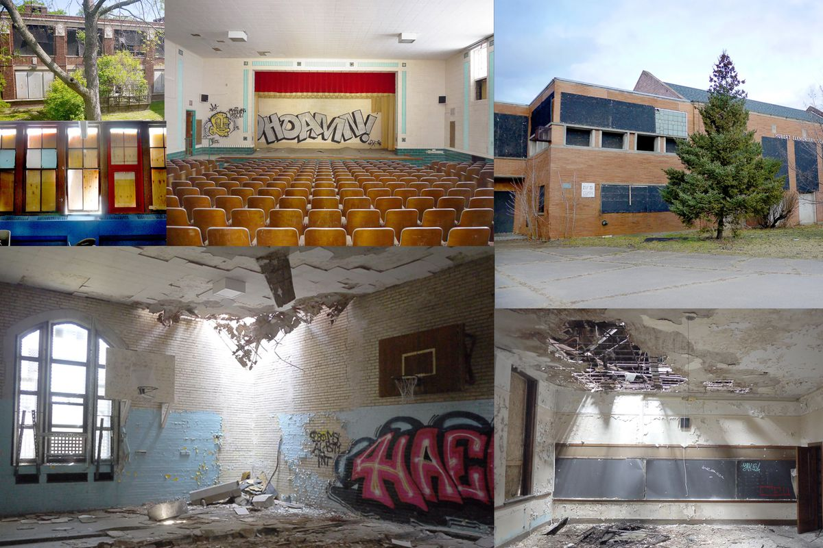 A collage of images from abandoned Detroit schools. There are six pictures of different sizes, showing auditoriums, gymnasiums, classrooms and exteriors with varying levels of decay after years of neglect.