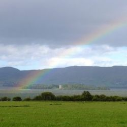 A rainbow appeared over the loch outside a cashmere mill we visited.
